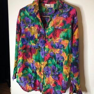 Vintage Bright 100% Silk Button Down Shirt